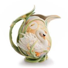 kathy ireland Home by Franz Collection Swan Lake Swan Porcelain Pitcher...Oh so beautiful