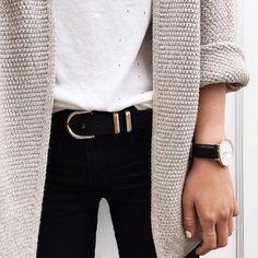 white tee long cardigan belted black pants.