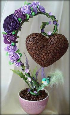 Работы Ирины Хасановой Topiary Centerpieces, Floral Centerpieces, Floral Arrangements, Diy Arts And Crafts, Bead Crafts, Crafts For Kids, Paper Crafts, Coffee Bean Art, Balloon Flowers