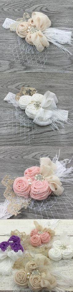 Handband Satin Flower Matching Sparking Rhinestone Pearls on Lace Headband Baby Headband Vintage Headband