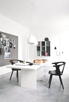 Scandinavian workspace with concrete floor. Vedbaek House IV by Norm.Architects. Features with &Tradition In Between SK1 and Spinning Light BH1.