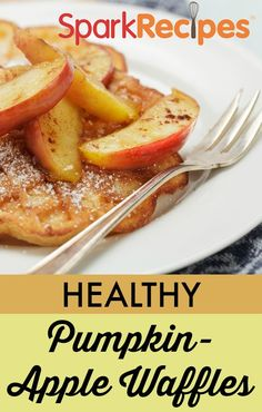 Coach Nicole's Pumpkin & Apple Waffles.. These are PERFECT for fall mornings! Yum! | via @SparkRecipes #breakfast #pumpkin #healthy