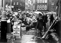 Rubbish piled up in a Soho street during the 1979 dustmen's strike.