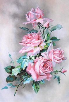 Print FREE SHIP Pink Cabbage Roses Splendor by VictorianRosePrints, $11.99