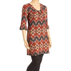 Aryeh Brown & Orange Ikat Ruffle-Sleeve Tunic Sweater ($15) ❤ liked on Polyvore featuring plus size women's fashion, plus size clothing, plus size tops, plus size sweaters, boho tops, long sweaters, bohemian style tops, bohemian sweater and boho sweater