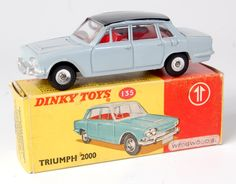Lot 1933 - Dinky, 135, Triumph 2000 promotional issue, blue/grey body, black roof with box sticker attached as