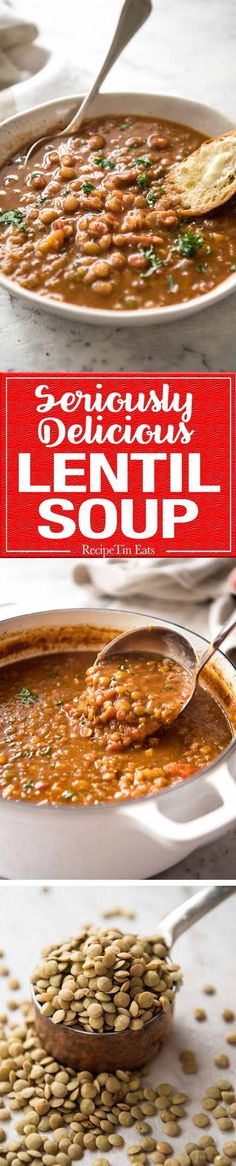 Don't settle for a bland Lentil Soup. Make it right and you'll have everyone begging for more! All it takes is a hint of spice flavourings, bay leaves and finishing it off with a touch of lemon. It makes all the difference! (veggie recipes with lentils) Lentil Recipes, Soup Recipes, Vegetarian Recipes, Dinner Recipes, Cooking Recipes, Healthy Recipes, Budget Cooking, Recipies, Cooking Corn