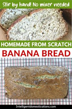 This Homemade from scratch Banana Bread recipe is mixed by hand so no need to take out a heavy mixer. We added Nuts and Cinnamon but those are optional ingredients. This easy recipe makes a moist and delicious sweet bread for breakfast or dessert. Fun Easy Recipes, Fruit Recipes, Fall Recipes, Easy Meals, Dessert Recipes, Delicious Desserts, Yummy Food, Delicious Dishes, Breakfast Bread Recipes