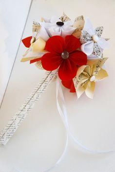 Origami Brautstrauss Shabby chic Vintage  von Papier Träume auf DaWanda.com