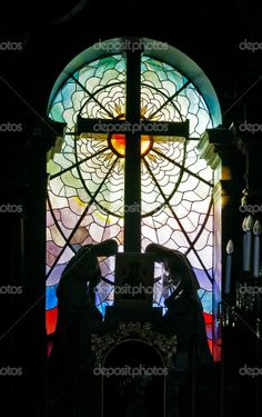 Religious Stained Glass Window Cross | Catholic church stained-glass window — Stock Photo © Valentin ...