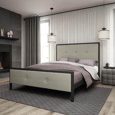 Amisco Dayton Metal Bed with Upholstered Headboard and Footboard (Queen Size bed), Beige