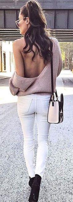 #winter #fashion / Różowy otwarte tylne dzianiny + biały Skinny Jeans