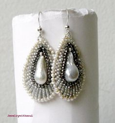 #beadwork Icicle drops, bead embroidery teardrop earrings with baroque blister freshwater pearls in white and silver
