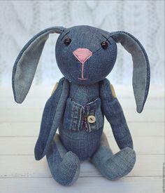 Rabbit Toy / Джинсовый Заяц НИККИ) - синий, джинсовая ткань, джинса, текстильная игрушка, синий цвет