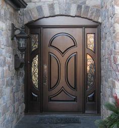 Exterior Doors: Side Light Entry Doors - Amberwood Doors Inc. Front Door Molding, Iron Front Door, Exterior Front Doors, House Front Door, Entrance Doors, Main Door Design, Wooden Door Design, Front Door Design, Custom Wood Doors