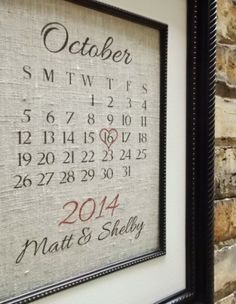 Traditional 2nd Second Wedding Anniversary Gift: Customized Cotton Wedding Anniversary Art Calendar Date by Lemon