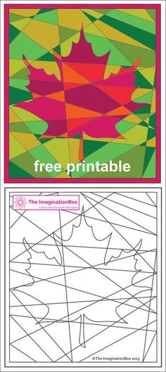 The ImaginationBox free printables: explore the russets and golds of Fall/Autumn with this hidden maple leaf coloring sheet