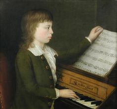 "English School circa 1790 -   Portrait of a boy, half length, wearing a green coat and white shirt, seated at a spinet, holding a music score,    bears initial lower right ""B"" (possibly for ""Barton""),   oil on canvas,   h:61 w:68 cm"