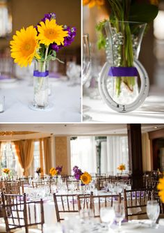 Found this on a blog. I really like the centerpieces. Same colors for our wedding. I wonder if this can be made taller...