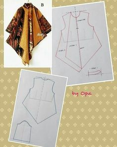 Sewing vintage patterns simple New ideas Dress Sewing Patterns, Blouse Patterns, Clothing Patterns, Batik Fashion, Fashion Sewing, Mode Batik, Sewing Blouses, Batik Dress, Top Pattern