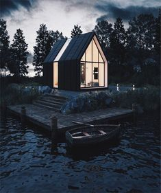 Lake House is designed by and is lcoated in Russia and render is made by . The Lake House is… Cabin Design, Tiny House Design, Modern House Design, Contemporary Design, Amazing Architecture, Architecture Design, A Frame House, Tiny House Cabin, Modern Barn