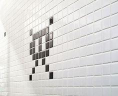 Space invader bathroom detail.