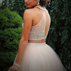 Charming Two Piece Illusion Back Short Pink Homecoming Dress with Beading