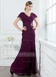Holiday Dresses - $146.99 - A-Line/Princess V-neck Floor-Length Chiffon Holiday Dress With Ruffle Beading (020032263) http://jjshouse.com/A-Line-Princess-V-Neck-Floor-Length-Chiffon-Holiday-Dress-With-Ruffle-Beading-020032263-g32263