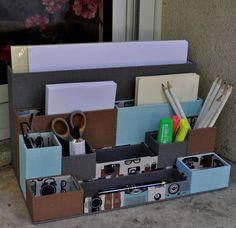 Perfect slim organizer for computer desk Carton Diy, Tube Carton, Cardboard Organizer, Cardboard Crafts, Desktop Organization, Diy Organization, Diy Paper, Paper Crafts, Diy Karton