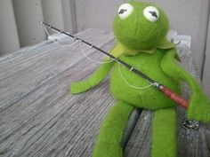 Your place to buy and sell all things handmade Kermit The Frog, Jim Henson, Green Fabric, Fisher Price, Bean Bag, Dinosaur Stuffed Animal, Fishing, Dolls, Tattoos