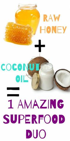 Raw honey and coconut oil are two of the most powerful and popular healing foods.Raw honey and coconut oil are two of the most powerful and popular healing foods around. Both have been used for centuries to treat common ailments, as well to su Coconut Oil For Teeth, Cooking With Coconut Oil, Coconut Oil Uses, Benefits Of Coconut Oil, Organic Coconut Oil, Cooking Oil, Raw Honey, Oils For Skin, Raw Food Recipes