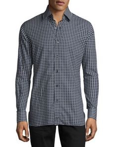 TOM FORD Houndstooth-Print Sport Shirt, Navy. #tomford #cloth #