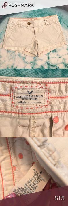 American Eagle Outfitters Khaki Cream Shorts 0 AEO cream colored Khaki shorts in a size 0, perfect condition. Make an offer. 🌸 American Eagle Outfitters Shorts