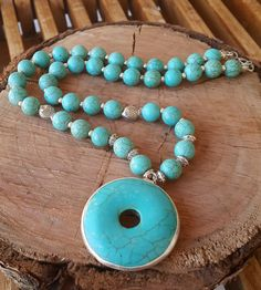 Natural Turquoise Pendant Necklace, Gift for Women, Gemstone Necklace, Girlfriend Gift, Stone Pendant, Turquoise Necklace for Women