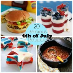 20 Delicious 4th of July recipe ideas! main course, side dishes and lots of desserts