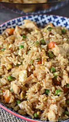 Quick and Easy Chicken Fried Rice - Adventures of Mel How to make the most delicious homemade chicken fried rice. Quick and easy stir fry dinner recipe that's so much better than takeout! Pork Fried Rice Easy, Chicken Stir Fry Rice, Stir Fried Rice Recipe, Homemade Chicken Fried Rice, Making Fried Rice, Fried Chicken Recipes, Chinese Rice Recipe, Baked Rice, Stir Fry Dinner Recipes
