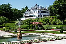 EDITH WHARTON:  In 1902 she built The Mount, in Lenox, Massachusetts, which survives .. an example of her design principles. There, Edith Wharton wrote several of her novels, including The House of Mirth (1905), the first of many chronicles of the nature of old New York, and entertained the cream of American literary society, including her close friend,  novelist Henry James. Although she spent many months traveling in Europe nearly every year, The Mount was her primary residence until 1911.