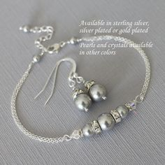 CUSTOM COLOR Light Gray Jewelry Set Swarovski Light Grey Pearl Bridesmaid Jewelry Set, Bridesmaid Bracelet Set, Personalized Bridesmaid Gift