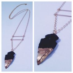 Gold Dipped Obsidian Arrowhead Necklace