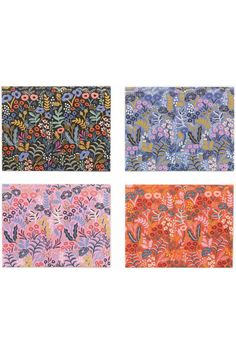 """This set of beautiful cards for every occasion features beautifully detailed floral images from the designers at Rifle Paper Company. They are inspired by tapestries, and they come with backgrounds in black, blue, pink, and orange.The set includes eight cards with envelopes, and these are the A2 format.    Dimensions:4.25"""" by 5.5"""". The interior is blank.   Assorted Tapestry Cards by Rifle Paper Company. Home & Gifts - Gifts - Stationery & Office Boulder, Colorado"""