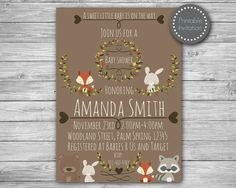 Woodland baby shower invitation fox baby by MagicPartyDesigns