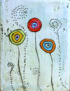 Three fancy flowers  original encaustic painting by Number9Studio, $60.00