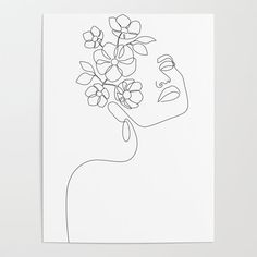 Dreamy Girl Bloom Art Poster by Explicit Design - X Flower Outline, Outline Art, Outline Drawings, Art Drawings, Line Art Flowers, Flower Art, Canvas Art Projects, Girls With Flowers, Art Prompts