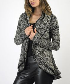 Nothing short of chic, this leather trim cardigan is a prime layering piece. Cuddle up in something that's comfy, cozy and stylish all at once.