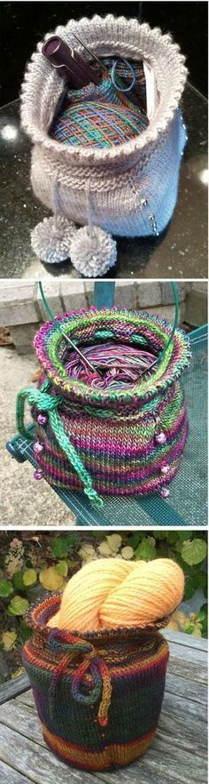 Free Knitting Pattern for Sock Baggie - This small project bag stands roughly 6 inches high. 13 inches around at the drawstring row and 17 inches around the widest part. It features picot edge, braided drawstring with optional pompoms and beads. Pictured projects by the designer Rebecca Enoch, CharliWilson, and nettischaf