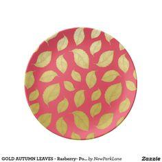 GOLD AUTUMN LEAVES - Rasberry- Porcelain Plate