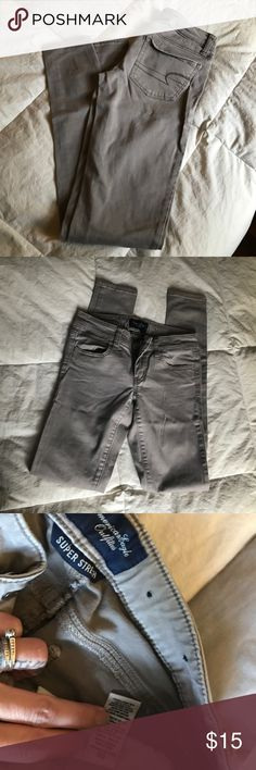 🦅American Eagle 🦅 super stretch khakis Great pair of 🦅 American Eagle super stretch super skinny khaki pants. Starting to get crease in legs. See photos! Make an offer! American Eagle Outfitters Pants Skinny