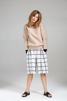 BADGE SWEATER AND CHECKED CULOTTE Dory, Badge, Women Wear, Contemporary, Chic, Casual, Sweaters, Collection, Style