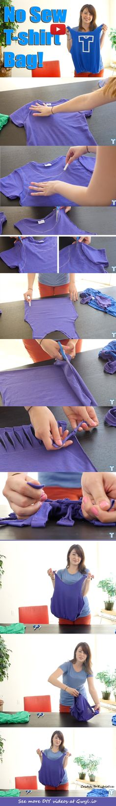 | Make A No Sew T-Shirt Tote Bag In 10 Minutes | http://gwyl.io/make-a-no-sew-t-shirt-tote-bag-in-10-minutes/