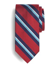 Brooks Brothers Repp Center Stripe Tie in Red.